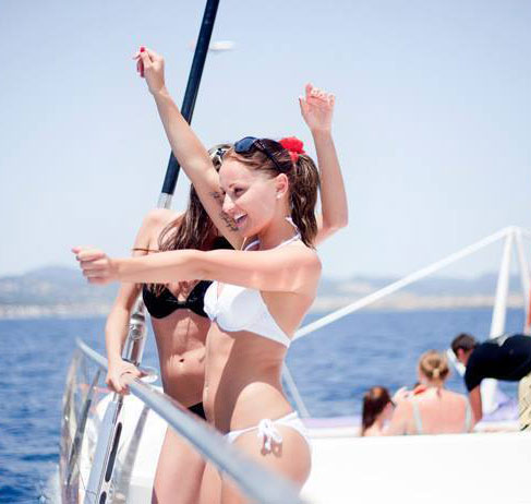 Party girls on catamaran