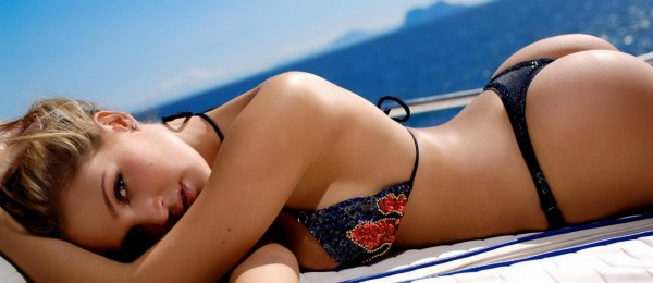 Girl laying on boat